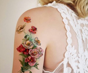 tattoo, flowers, and temporary image