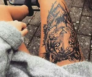 tattoo, tiger, and leg image