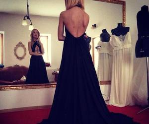 beauty, black dress, and blonde image