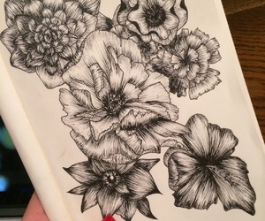 artwork, draw, and flowers image