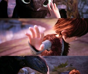 toothless, how to train your dragon, and hiccup image