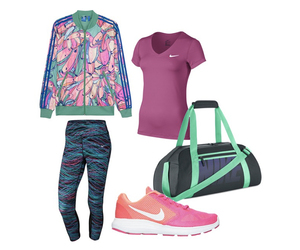 gym, nike sneakers, and leggings image