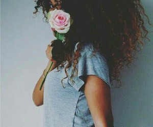 hair, flower, and curly image