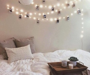 bedroom, lights, and bed image