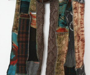 etsy, blue black, and patchwork scarf image