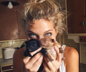 fashion, girl, and puppy image