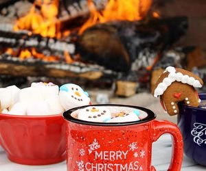 christmas, coffee, and fireplace image