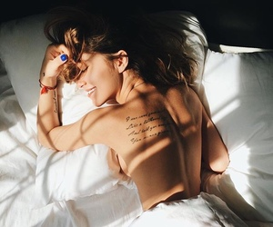 girl, bed, and tattoo image