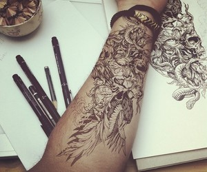 art, drawing, and Tattoos image