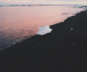 beach, pink, and water image
