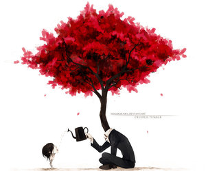 tree, red, and art image
