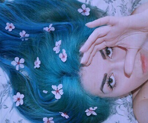 flowers, girl, and blue image
