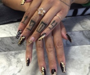 nails, tattoo, and gold image