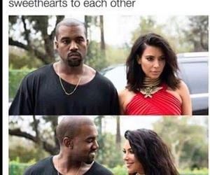 kim kardashian, kanye west, and funny image
