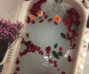 flowers, tumblr, and bath image