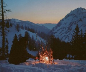 winter, fire, and mountain image