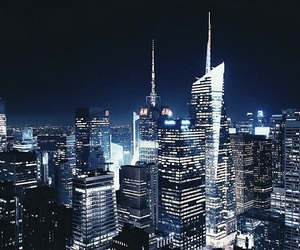 night, city, and new york image