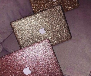 apple, glitter, and gold image