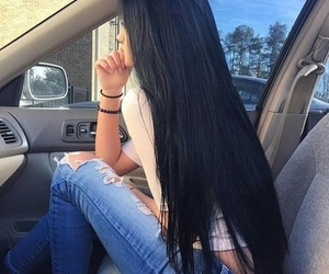 black hair, girl, and hair image