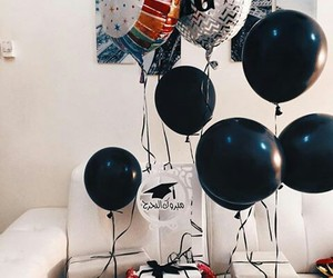 balloons, black, and education image
