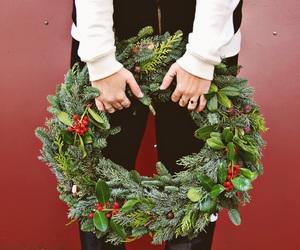 christmas, wreath, and green image