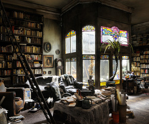 home, interior, and library image