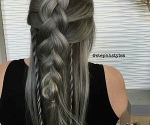 braid, grey, and hairstyle image