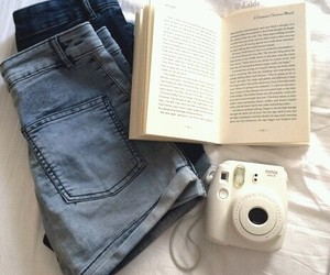 book, jeans, and shorts image