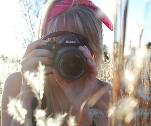 camera, meadow, and girl image