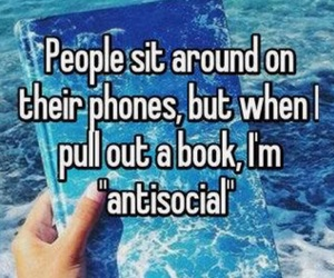 book, antisocial, and phone image