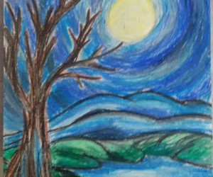 night, painting, and oil pastels image