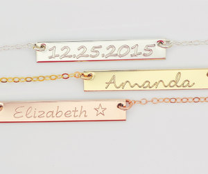 bridal necklace, etsy, and name bar necklace image