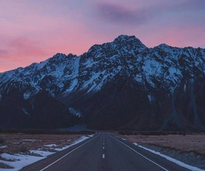 mountain, pink, and sky image