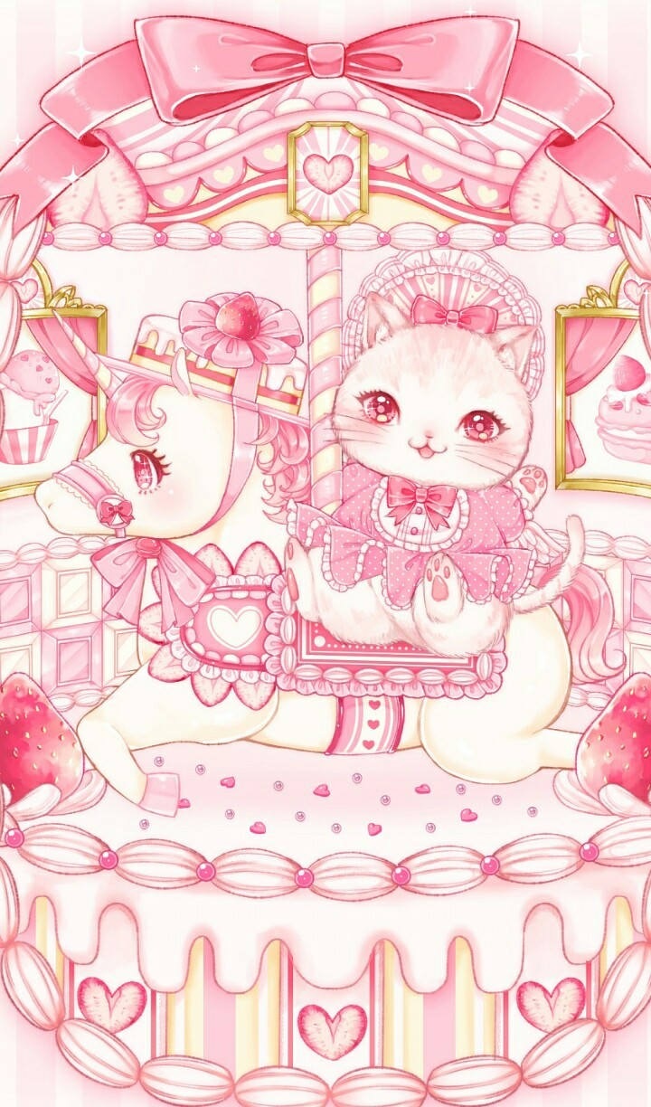 Animals Anime Art Background Beautiful Beauty Cartoon Chibi Cute Art Cute Illustration Design Drawing Illustration Kawaii Kitty Pastel Pink Sugar Sweets Unicorn Wallpapers We Heart It Pastel Pink Beautiful Art Pastel Color