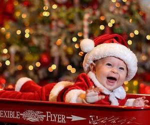 baby, christmas, and santa image