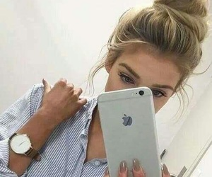 girl, iphone, and hair image