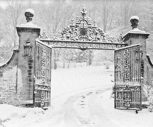 snow, winter, and gate image