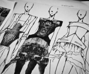 fashion, black and white, and dress image