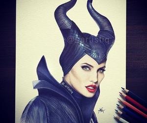 maleficent, Angelina Jolie, and art image