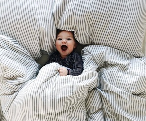 baby, bed, and boy image
