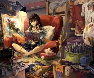 anime, art, and room image
