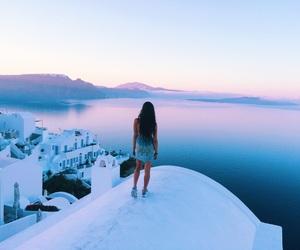 blue, Greece, and sunrise image