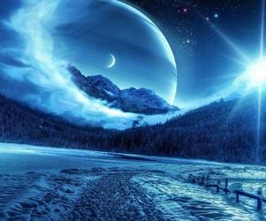 blue, night, and galaxy image