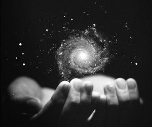 galaxy, hands, and stars image