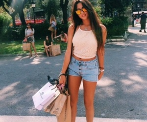 bags, blue, and girl image