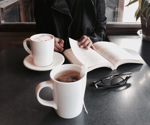coffee, girl, and book image