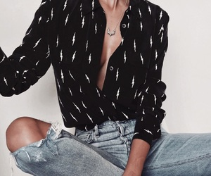 button up, denim, and ripped jeans image