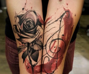 tattoo, rose, and music image
