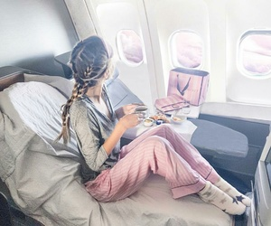 girl, hair, and plane image