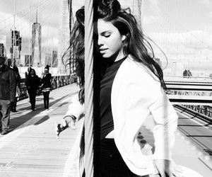 black and white, model, and outfit image